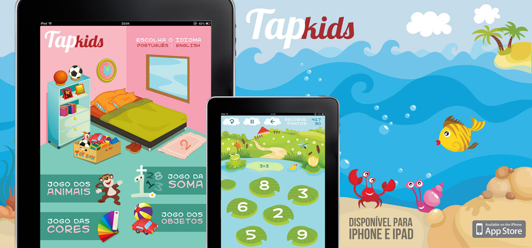 Tap Kids - Disponível na AppStore para iPad, iPhone e iPod Touch